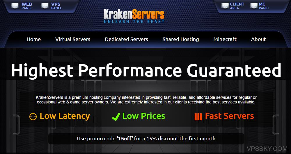 krakenservers:便宜KVM VPS,1G内存年付仅需15美元,免费Windows